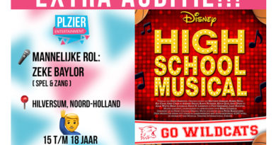 Plzier Entertainment houdt extra audities voor High School Musical